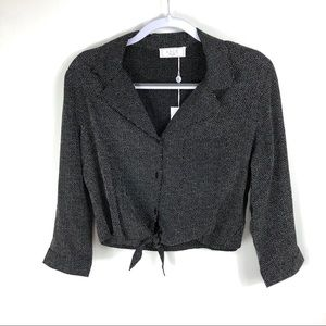 NWT Sage the label black tie front cropped shirt